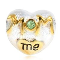 MOM Love Me Heart Beads With Peridot Crystal 100 925 Sterling Silver Charm Beads Fits Pandora