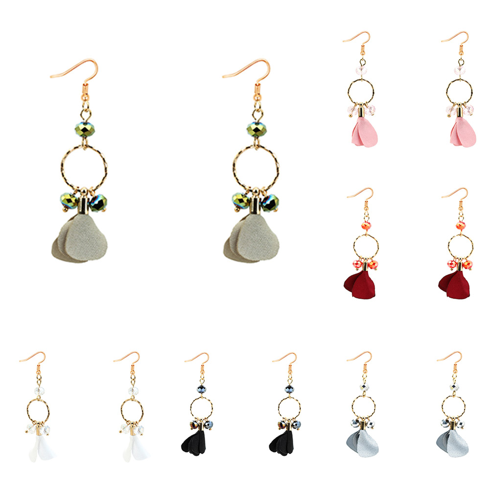 2017 New Fashion Elegant Style Simple Jewelery Cloth Flowers Drop Earrings Beads Long Section Of The Women Gift