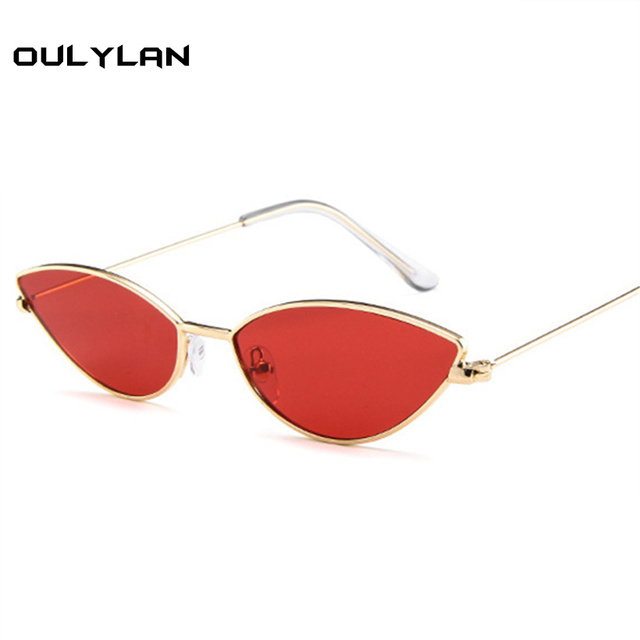 89092b05a5bec Oulylan Women Cat Eye Sunglasses Vintage Brand Designer Sun Glasses Sexy  Small Frame Black Red Cateye