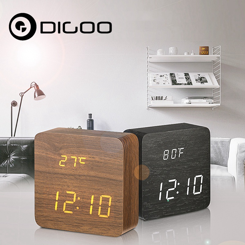 Digoo DG-AC1 Wooden LED Digital Alarm Clock Multifunctional 2 Mode Display Time Thermometer Voice Control Desk Clock 90 260v ac dc digital timer 4 digit display alarm clock countdown time counter chronograph relay output 1 alarm