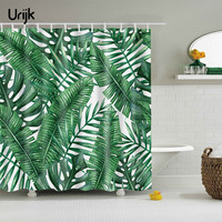 Urijk 1PC Green Tropical Plants Shower Curtains For Bathroom Waterproof Polyester Fabric Bath Curtain Banana Leaves