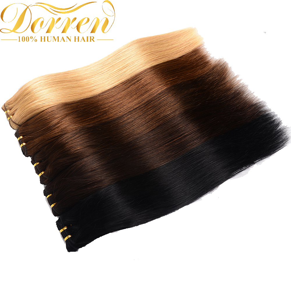 Doreen Full Head Brazilian Machine Made Remy Hair 120G #60 Blonde 16inch-22inch Natural Straight Clip In Human Hair Extensions(China)