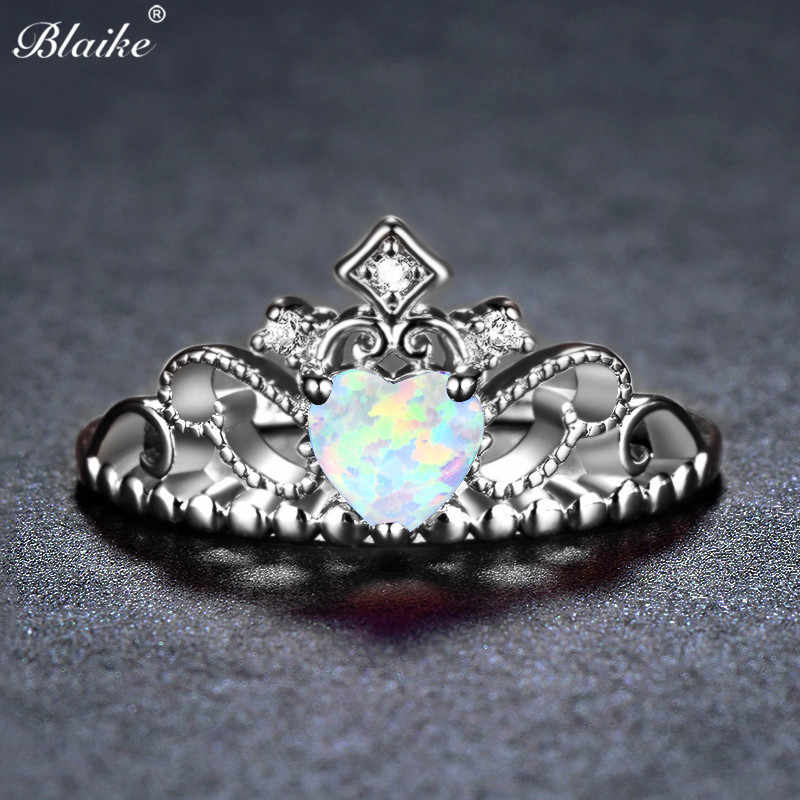 Blaike 925 Sterling Silver Color White Fire Opal Heart Crown Rings For Women Men Simple Fashion Jewelry Rainbow Birthstone Ring