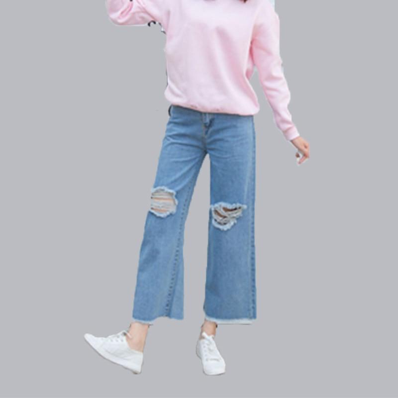 Regular Straight Jeans Women Lady Denim Trousers Loose Wide Leg Jeans Mid Waist Womens Casual Vintage Street Ankle-length Pants women girls casual vintage wash straight leg denim overall suspender jean trousers pants