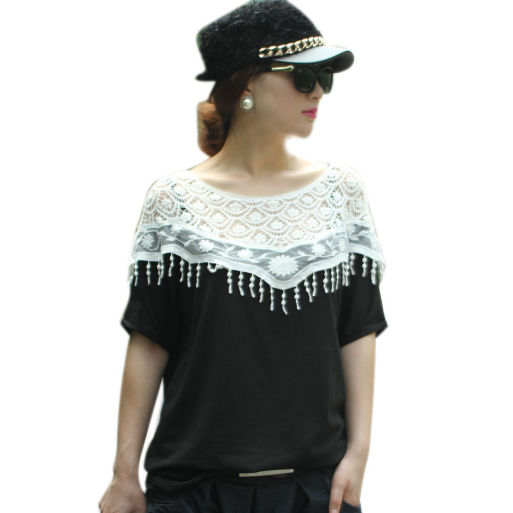 ᐂMujeres casual Encaje patchwork Batwing manga Hollow out blusa ...