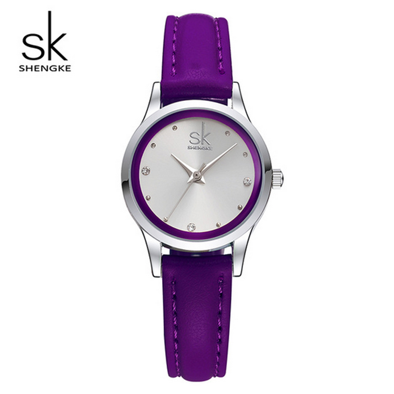 SK Lady Small Leather Watches Band Round Dial Quartz Women Watch Famous Brand 2017 Simple Casual Ladies Wrist Watches For Women quartz watch with small diamond dots indicate leather watch band hearts pattern dial for women