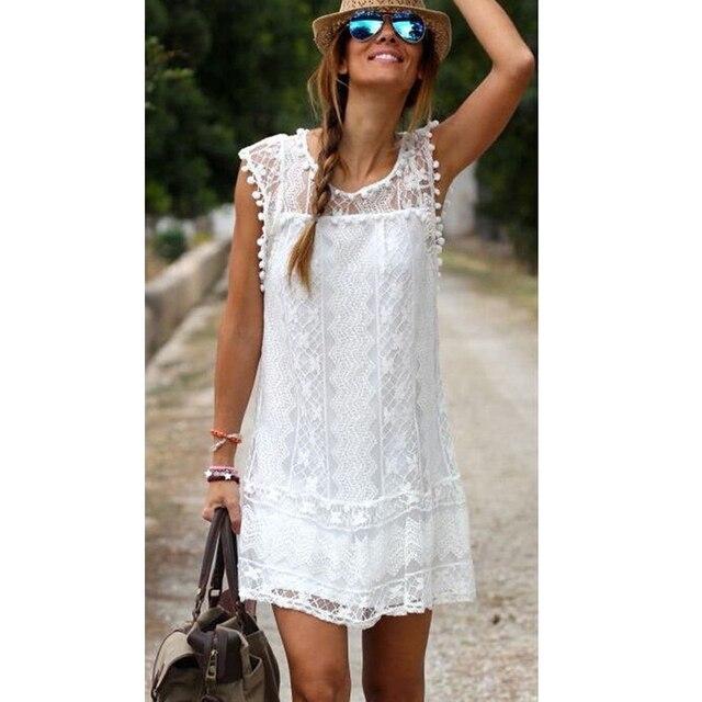 Vestido corto de verano de playa para mujer Sexy de encaje hueco blanco