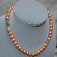 Sting 9 10 mm natural sea water pink pearl necklace 18 inch>>>girls choker necklace pendant Free shipping