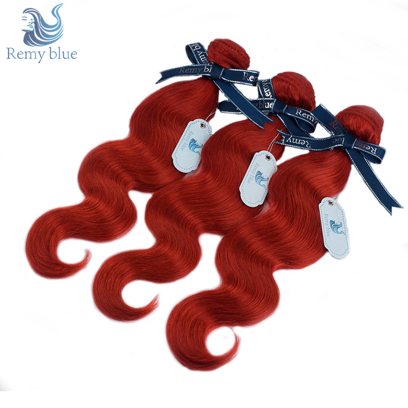 Remy Blue Burgundy Red Indian Body Wave Human Hair Weave Extensions Can Buy 3 Bundle Deals 10-26 Inch Remy Hair Weft No Shedding