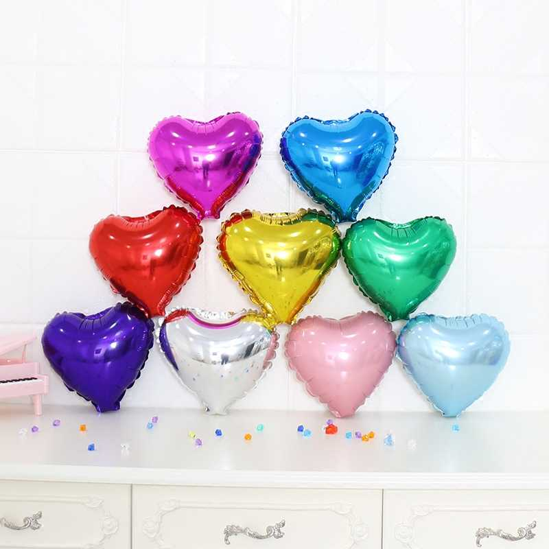 1pcs 10inch Heart Aluminum Foil Helium Balloons Birthday Wedding Decoration Festival Party Decoration Children's Toys Gifts MIDU