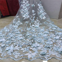Newest Embroidery Tulle Mesh Lace 3d Lace Fabric 2018 High Quality Lace Powder Blue Flower French Lace Fabric X843 4