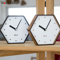 Mandelda Modern Design Non Ticking Office Desk Clock Mini Wood Quartz Table Clock Analog Retro Gifts Clocks Promotion