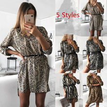 Women Autumn Sexy Leopard Snake Print Striped Long Sleeve V-Neck Dress Ladies Casual Empire Mini Dresses Above Knee Length(China)