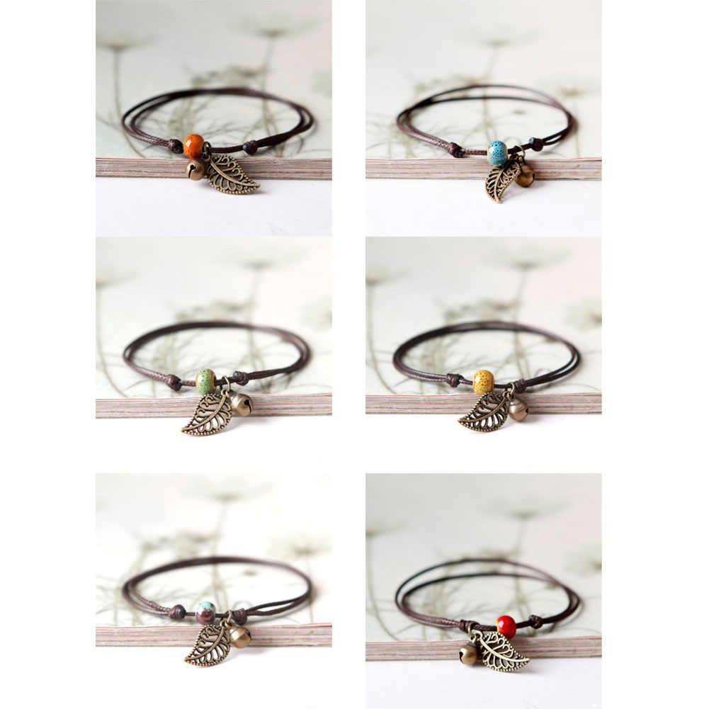 新しいシンプルな調節可能な手作りリーフベルセラミックアンクレット織アジャスタブルロープ幸運足のブレスレット