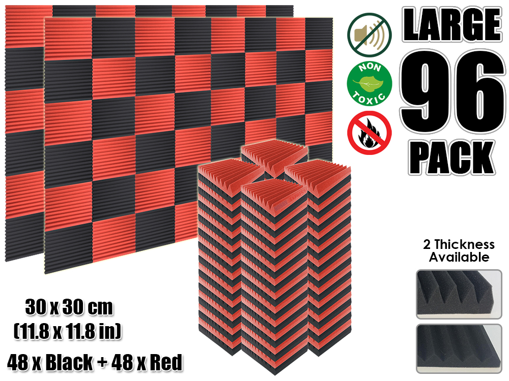 Arrowzoom 96 pcs Red and Black Multi Wedge 12T Acoustic Studio Foam Tile Sound Absorption Panel 30 x 30 cm (11.8 x 11.8 inches)