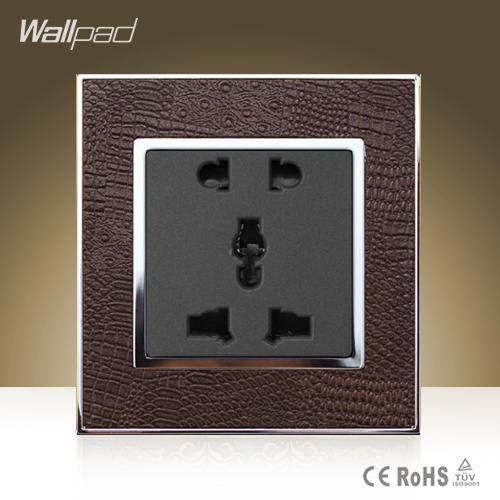 Wallpad Luxury Universal Socket Goats Brown Leather Frame AC 110V-250V 5 Pin Universal Wall Socket Outlet Free Shipping wallpad luxury double 13 a uk switched socket goats brown leather 1 gang switch and 13a wall socket with neon free shipping