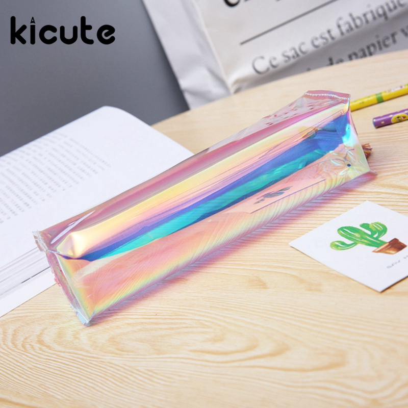 Kicute 1pcs Transparent Pencil Case Simple and Stylish Cosmetics Makeup Bag Holographic Metallic Color for Students and Workers
