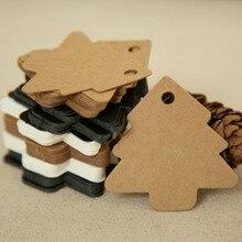 50pcs / Set  DIY Kraft Christmas Tree Shape Hang tag Christmas Party Deco Paper Cards Gift tag 5.5*5.4cm