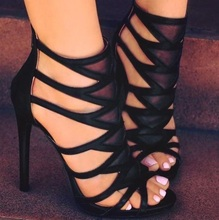 Women High Heels Sandals Gladiator Narrow Band Sexy Thin Heel Shoes Sandals Women Party Shoes Back Zipper Plus Size 46 newest 2017 name brand black gold strap high heel sandals back zipper cage shoes woman women size 34 41 gladiator sandals boots
