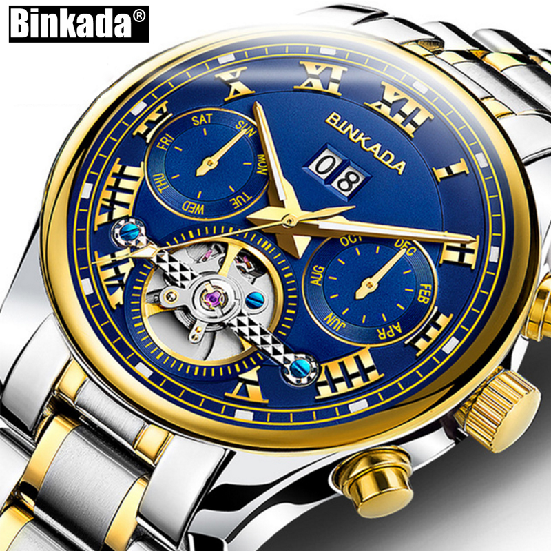 Reloj Mecánico esqueleto de lujo de marca superior BINKADA nuevo Tourbillon relojes de hombre reloj de pulsera automático de oro para hombre relojes de pulsera-in Relojes mecánicos from Relojes de pulsera    1