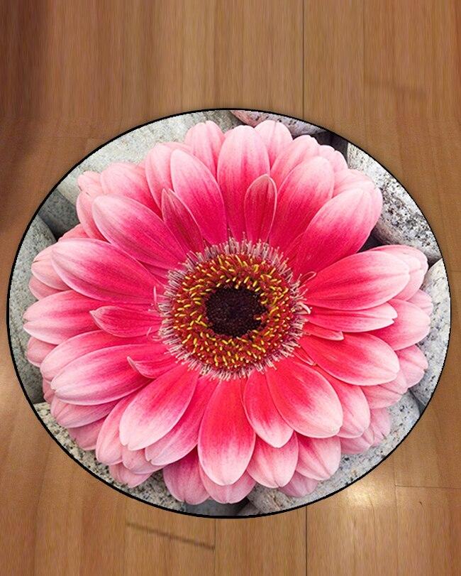 Autre rose grandes fleurs sur pierre grise Floral 3d motif imprimé anti-dérapant dos tapis rond tapis pour salon salle de bain