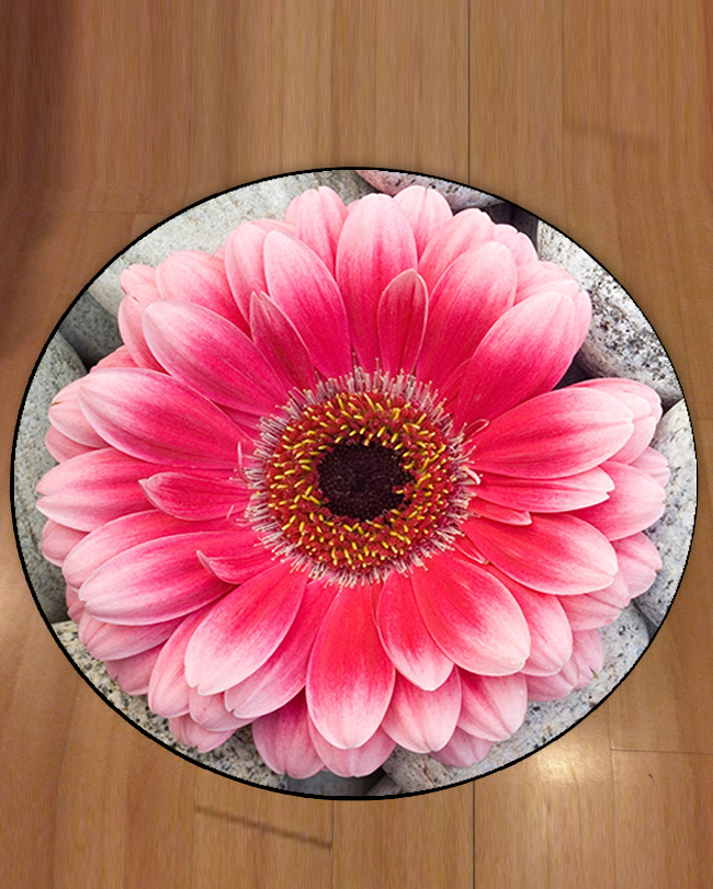 Else Pink Big Flowers On Gray Stone Floral 3d Pattern Print Anti Slip Back Round Carpets Area Rug For Living Rooms Bathroom