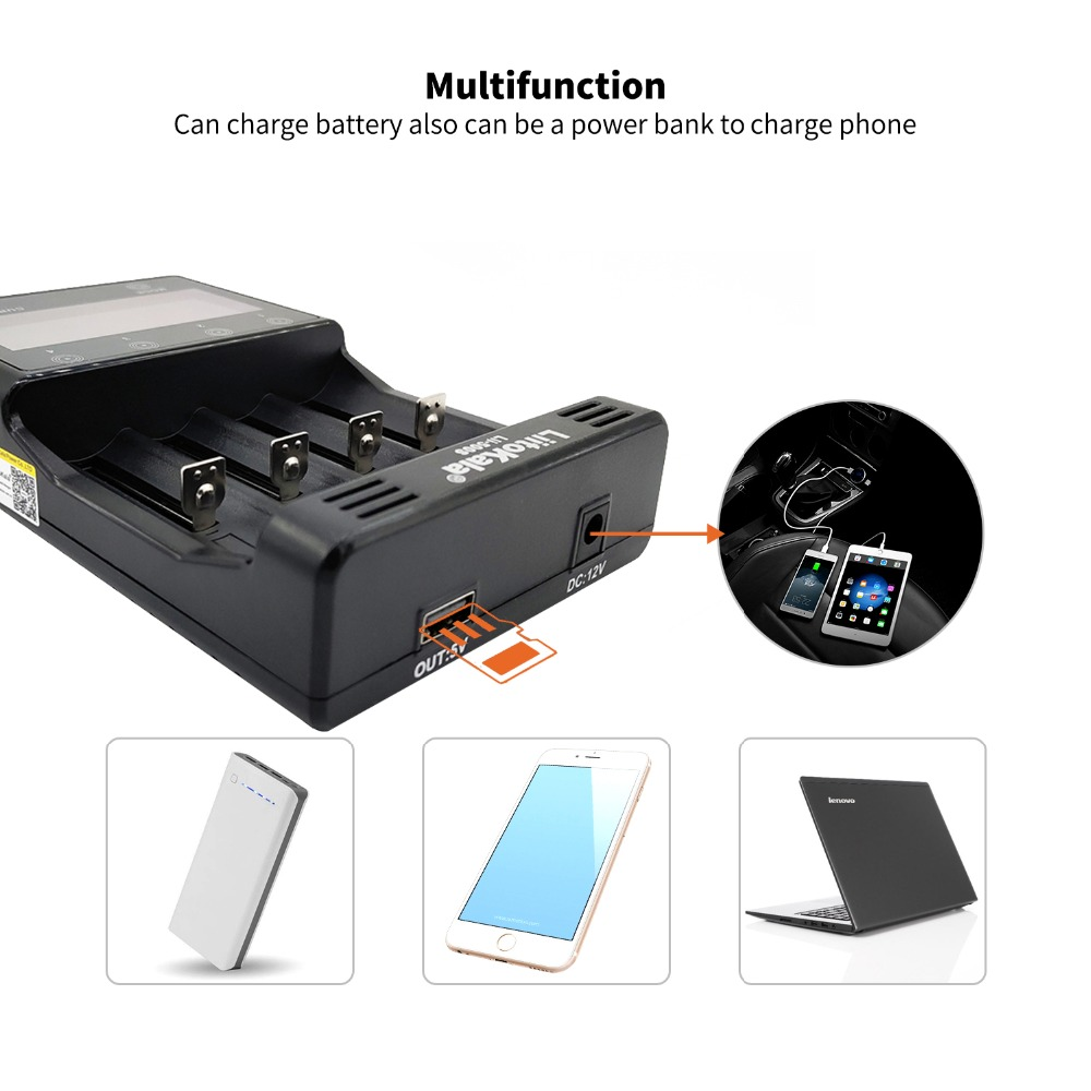 Liitokala Lii-500 Lii-500S LCD 3.7V 1.2V 18650 26650 21700 Battery Charger With Screen ,Test The Battery Capacity Touch Control