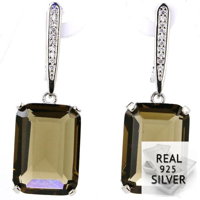 11,0g Echt 925 Solide Sterling Silber Ravishing 18x13mm Rauchquarz Zirkonia Geschenk Für Mädchen Ohrringe 45x13mm