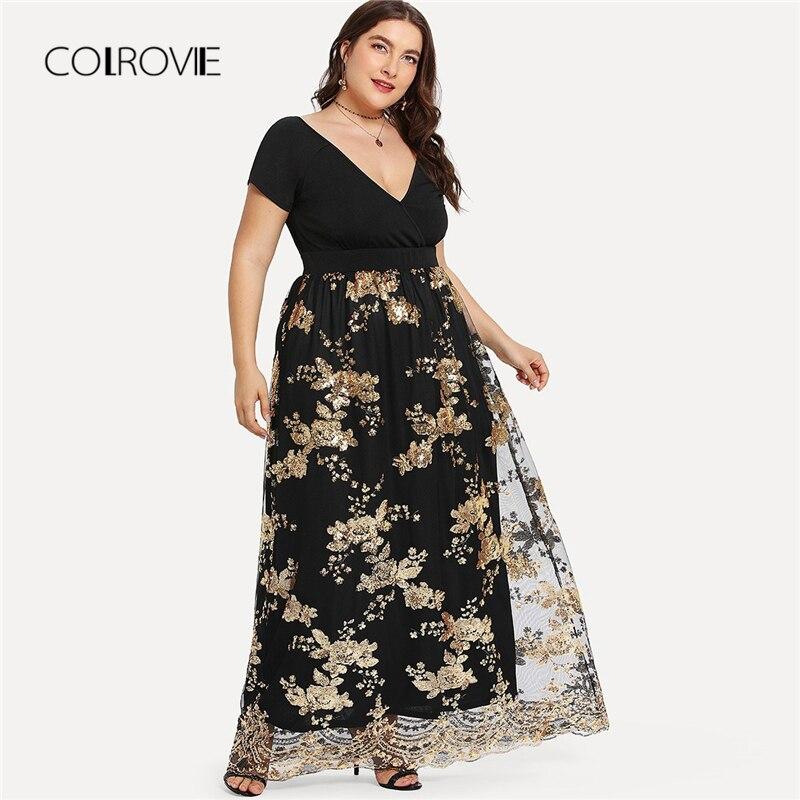 COLROVIE/большие размеры, черное платье с v-образным вырезом и блестками, с принтом, сексуальное женское платье 2018, Осенние вечерние платья, элег...