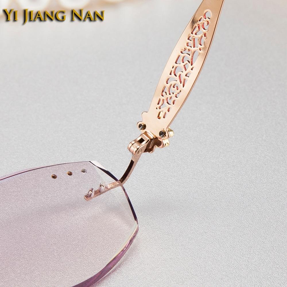 Red Mit Rezept Top Jiang Rahmen gold Gold Randlose Yi Farbton With Frauen Farbe Weibliche Mode Brille Steine Gray Linsen Nan Qualität Marke Purple RxSqA