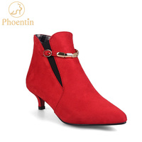 Red elastic band ankle boots for women thin low heels 2018 buckle female boot metal large size 48 shoes woman PHOENTIN PH001
