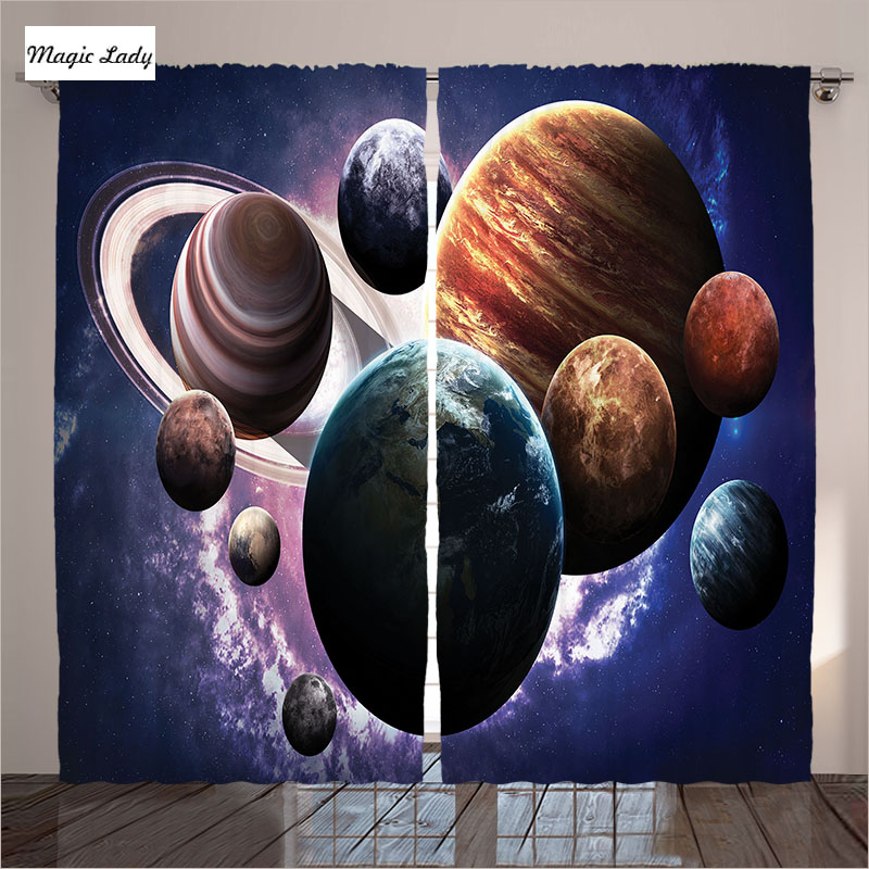 Curtains Space Purple Black Planet Stylish Design Art