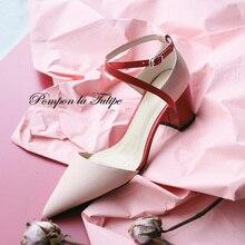 BHS 901196 Fashion Women Shoes Party Wedding Genuine Leather Stylish Sandals Sheepskin 7CM High Heels Elegant Stilettos Pumps