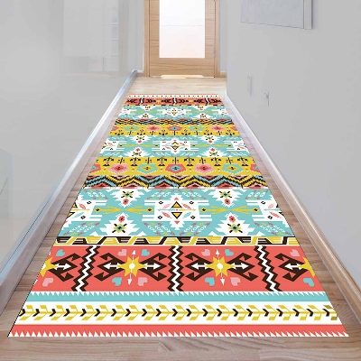 Else Aztec Green Blue Arrow Ethnic Design 3d Print Non Slip Microfiber Washable Long Runner Mat Floor Mat Rugs Hallway Carpets