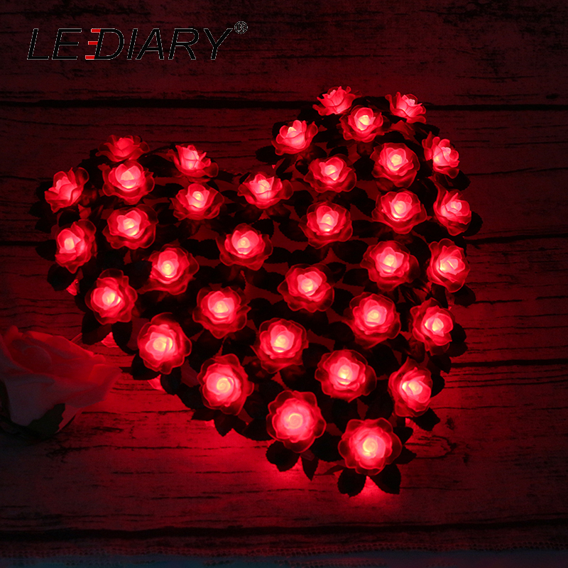 lediary romantic heart shape flower red led atmosphere night lights bedside lamp holiday 39 s. Black Bedroom Furniture Sets. Home Design Ideas