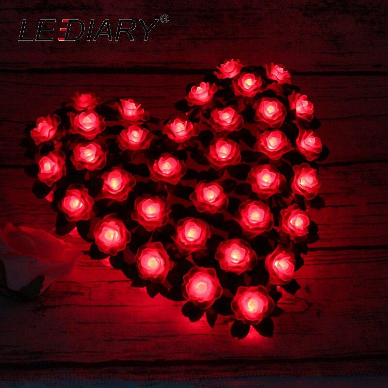 LEDIARY Romantic Heart Shape Flower Red LED Atmosphere Night Lights Bedside Lamp Holidays Decoration Lighting For Womens Gift