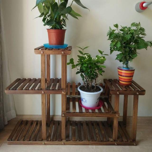 Online Shop Wood 4 Tier Flower Pot Racks Home Garden Decor Etagere