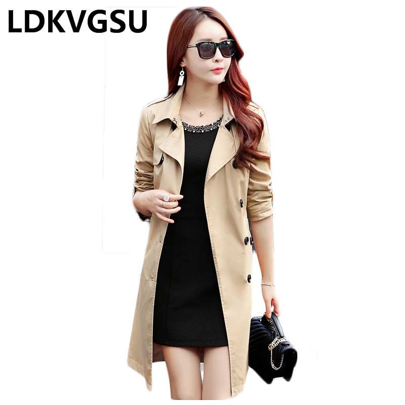 2018 Spring Autumn Women Solid Color Long   Trench   Coat Double Breasted With Belt Slim Female Windbreaker Outwear Plus Size Is023