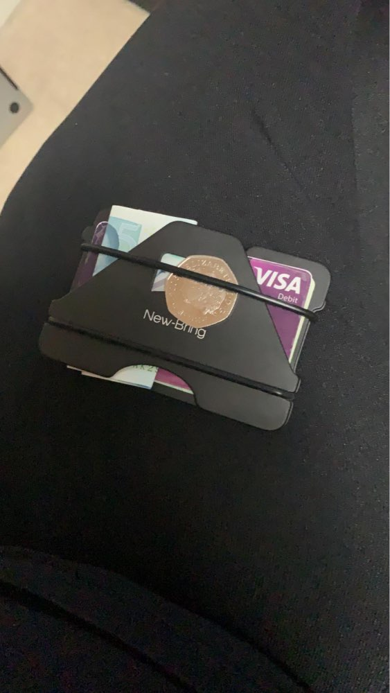 NewBring Multiple Function Metal Credit Card Holder Black Pocket Box Business Cards ID Wallet With RFID Anti-thief Wallet Men photo review