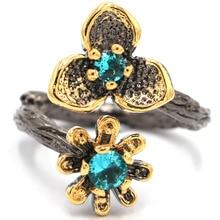 8.0# Vintage 10.8g Rich Blue Aquamarine Flower Black Gold Silver Ring 27x16mm