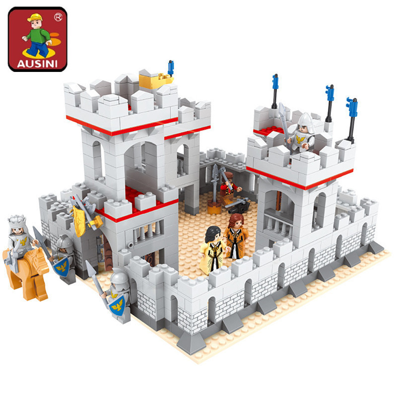 AUSINI Model building kits city castle 686 pcs 3D blocks model building toys hobbies for children DIY bricks educational toys new lepin 16008 cinderella princess castle city model building block kid educational toys for children gift compatible 71040