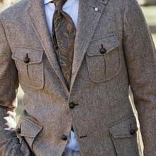 Винтажное шерстяное охотничье пальто для мужчин с несколькими карманами, американский Рабочий костюм, твидовая куртка в елочку, весенний и осенний тренд, мужской костюм, блейзер