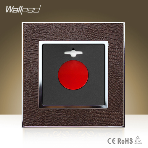 Big Sale Wallpad Luxury SOS Alarm Goats Brown Leather Modular Wall  Emergency Alarm Switch Free Shipping wallpad luxury double 13 a uk switched socket goats brown leather 1 gang switch and 13a wall socket with neon free shipping