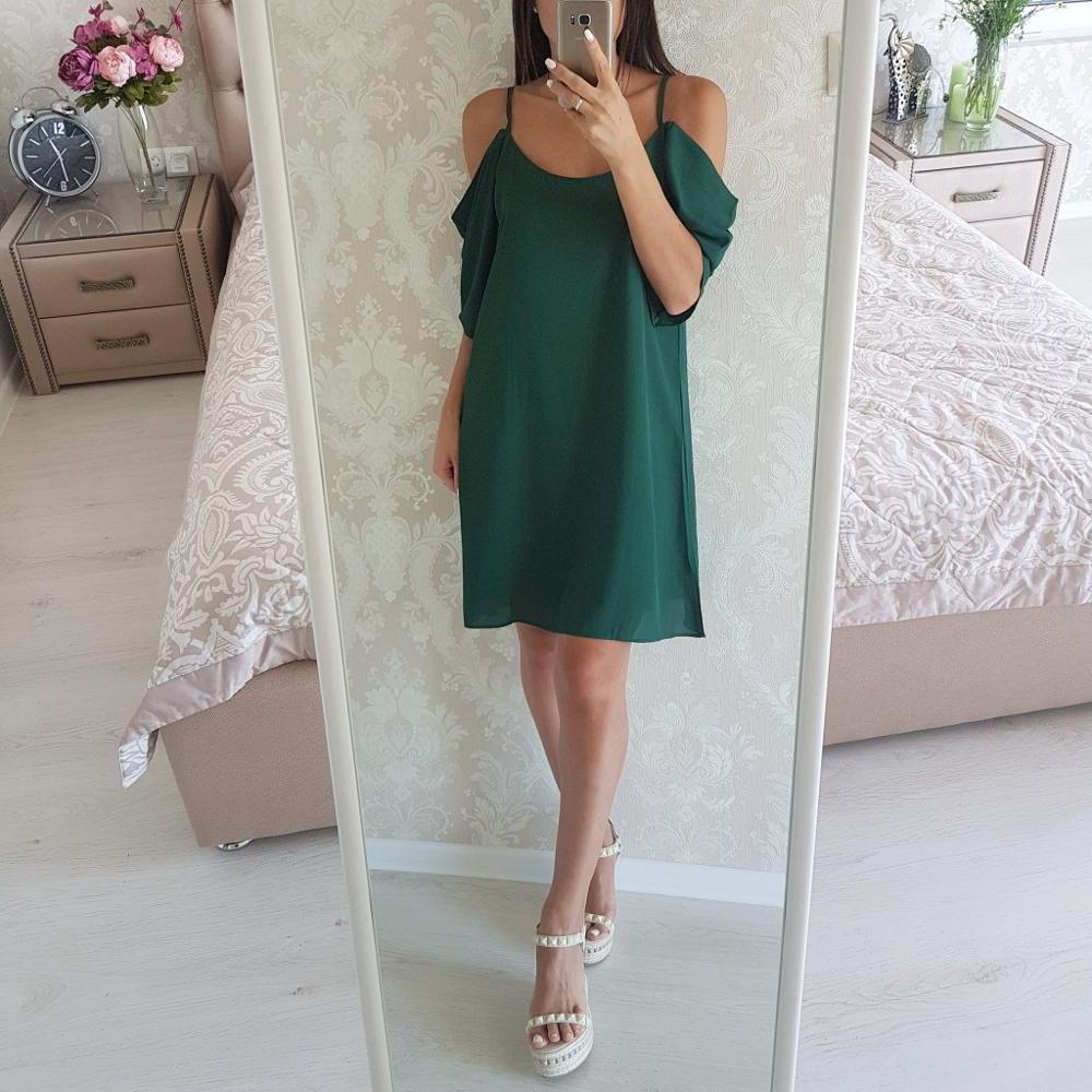 Шифоновое платье со спущенными плечами с Алиэкспресс
