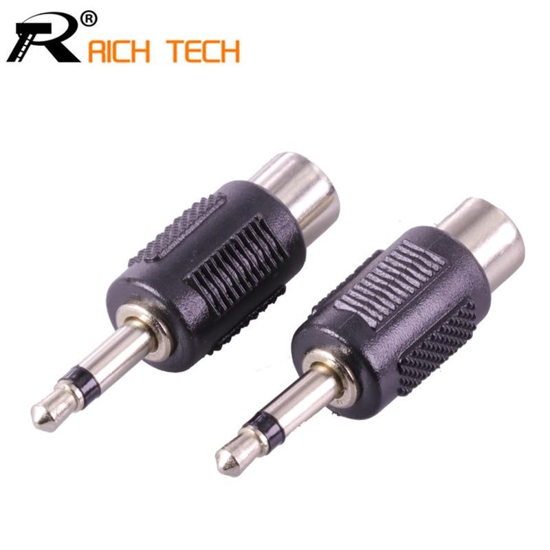 3Pcs RCA Jack Connector To Jack 3.5 MM Mono Plug Adapter Nickle Plated Quality Plastic Audio RCA Plug