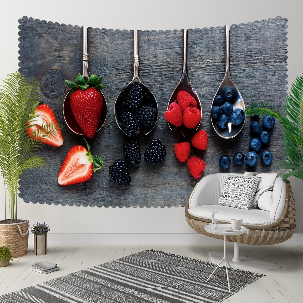 Else Gray Wood On Spoons Red Strawberry Blackberry 3D Print Decorative Hippi Bohemian Wall Hanging Landscape Tapestry Wall Art