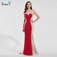 Dressv темно красный Элегантные без рукавов вечернее платье scoop шеи Русалка бисером Свадебная вечеринка торжественное платье вечернее платье