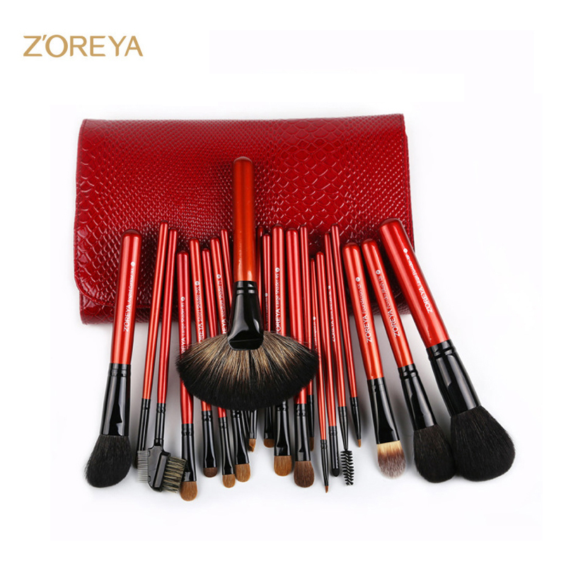 ZOREYA 21pcs Goat&Mink Hair Professional Full Set of Makeup Brushes Powder Foundation Eyebrow Lip Brush Set напильник bovidix 1204006 напильник плоский длина 250мм