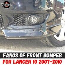 Fangs กันชนด้านหน้าสำหรับ Mitsubishi Lancer 10 2007 2010 พลาสติก ABS Pad BODY ชุดอุปกรณ์เสริมปรับแต่งรถจัดแต่งทรงผม