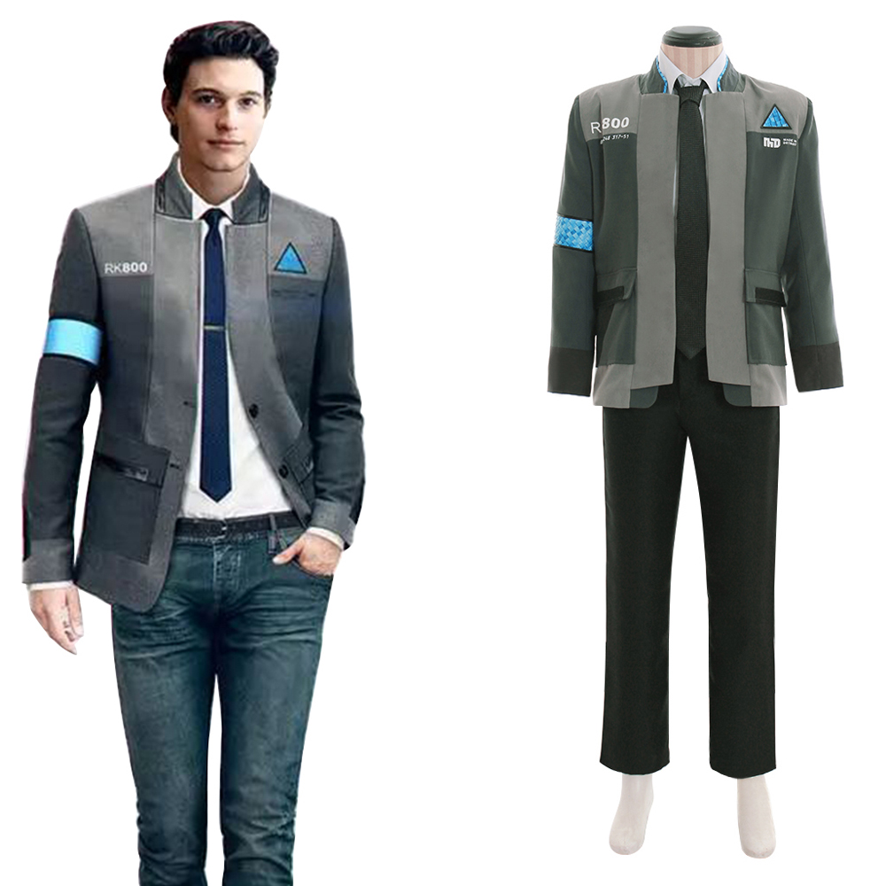 Game Detroit Become Human Connor Cosplay Costume RK800 Agent Unifrom Suit Men Halloween Carnival Costume Jacket Shirt Pant Suits